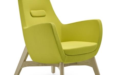 Fotel biurowy drewniany tapicerowany