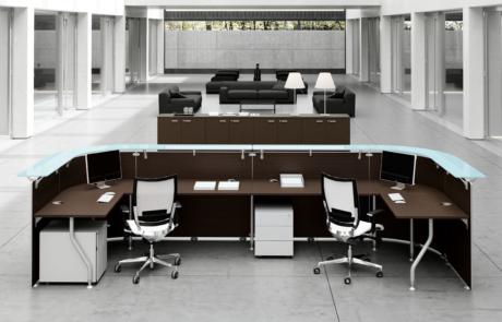 Szlachetne wnętrze eleganckie lada-panel recepcyjny desk