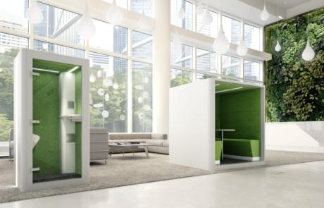 Silent Booth budki akustyczne zielone ciche biuro