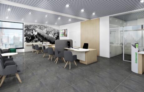Placówka banku nowoczesne wyposażenie meble