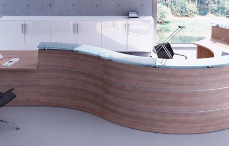 Bezpieczna lada recepcyjna szkło drewno ekologiczna