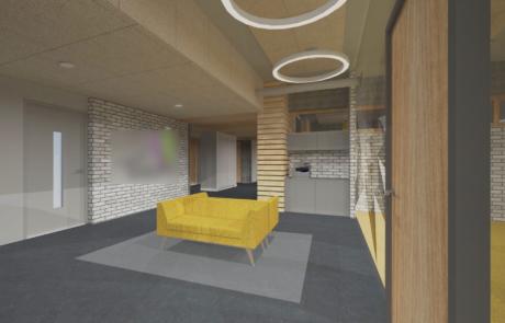 Wizualizacja koncepcyjna sofa miejsce dla klientów spotkań