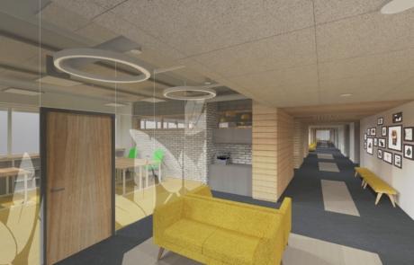 Wizualizacja koncepcyjna szło sofy korytarz